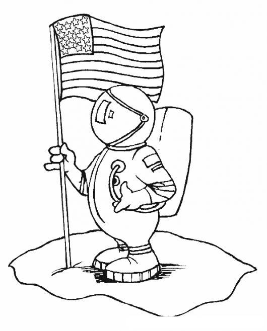 Astronauta De La Nasa Dibujo De Astronauta Con La Bandera De Estados ...