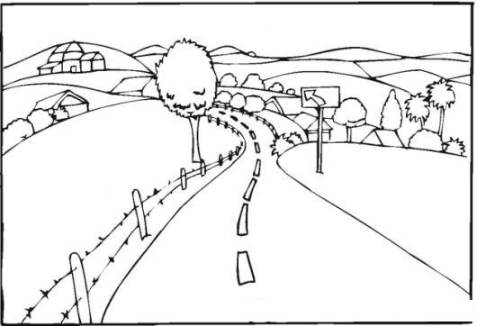 Paisajespaisajes Dibujo Del Paisaje De Una Carretera Para Pinta Y ...