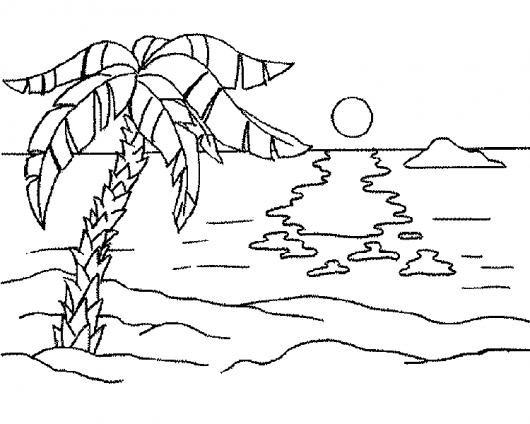 Paisaje De Playa Para Colorear | COLOREAR DIBUJOS VARIOS | Paisaje ...