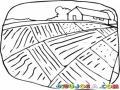 Dibujo De Un Paisaje Rural Con Una Vivienda De Campesinos Al Fondo Para Pintar Y Colorear