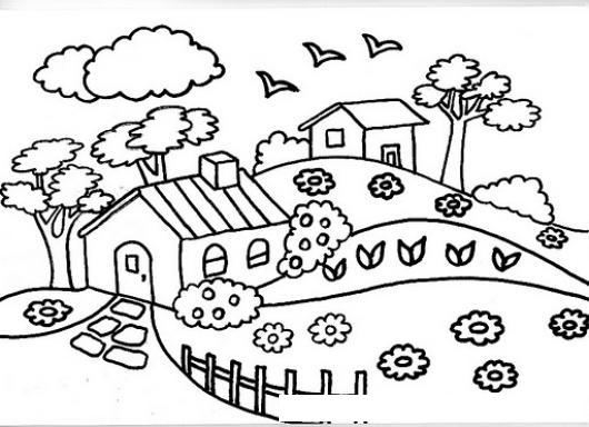 Dibujo De Dos Vivinedas Para Pintar Y Colorear Casas De Campo ...