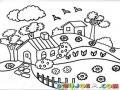 Dibujo De Dos Vivinedas Para Pintar Y Colorear Casas De Campo