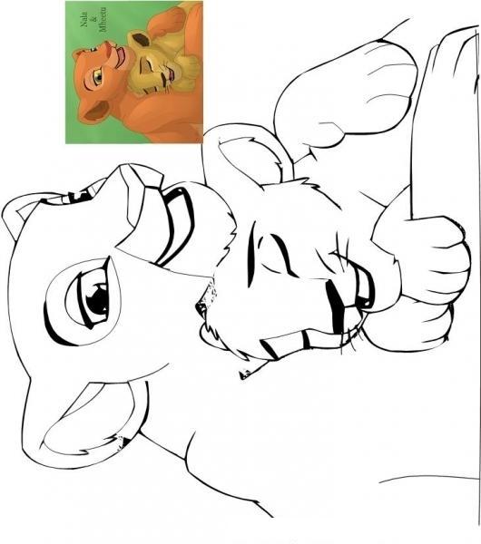 Colorear Leona y cachorro Nala y Mheetu del rey leon | COLOREAR ...