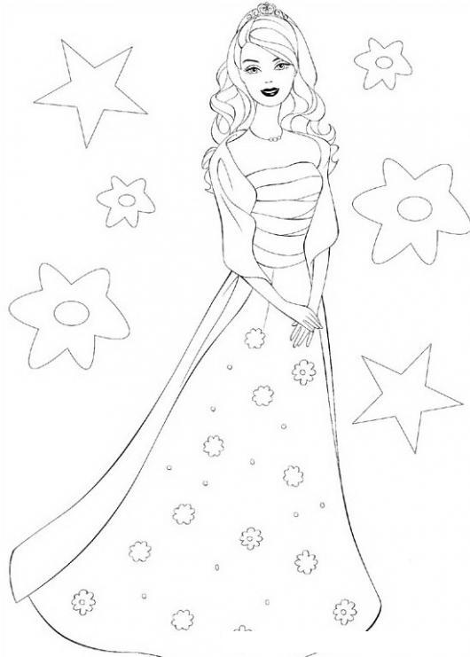 Barbie Con Vestido Largo Colorear Barbie Dibujo Para Pintar A