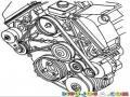 Faja De Tiempo Dibujo De Las Fajas Y Las Poleas Del Motor De Un Carro Para Pintar Y Colorear Fajasdecarro Motordecarro