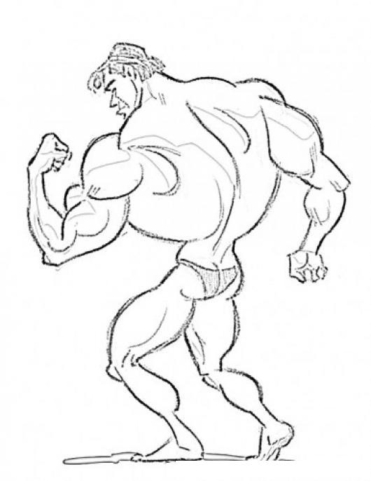 Dibujo De Hombre Musculoso Posando De Espalda Para Pintar Y Colorear ...