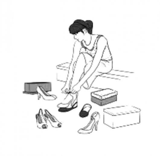 Zapateria Dibujo De Mujer Comprando Zapatos Para Colorer Colorear