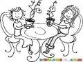 Dibujo De Amigas Tomando Cafe Para Pintar Y Colorear La Hora Del Te