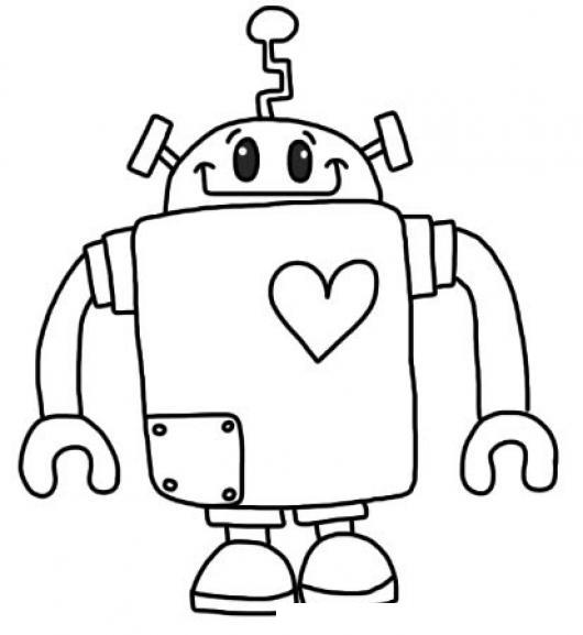 Robot Con Corazon Para Pintar Y Colorear Colorear Dibujos Varios