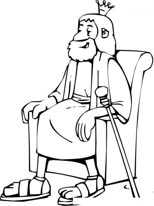 Dibujo De Rey Sentado En Su Trono Para Pintar Y Colorear