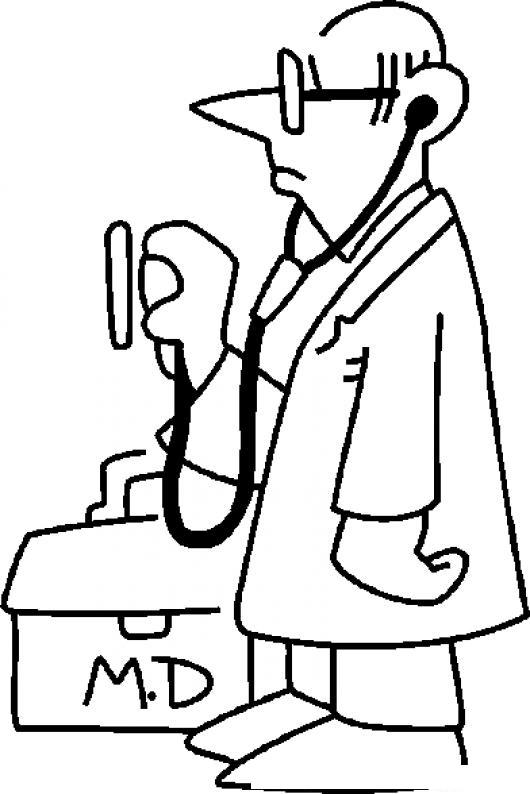 Dibujo De Medico Para Colorear Doctor Con Estetoscopio Y Maletin