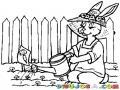 Dibujo De Mama Coneja Regando Un Huerto Para Pintar Y Colorear