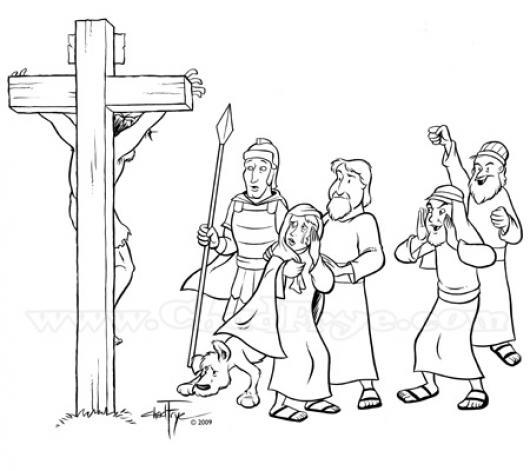 Dibujo De La Crucifixion De Jesus Para Pintar Y Colorear El ...