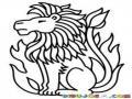 Leon De Fuego Para Pintar Y Colorear Leon En Medio De Una Llamarada De Fuego Para Colorear Leon Del Fuego