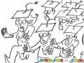 Graduandos Corriendo Dibujo De Estudiantes Reciengraduados Corriendo En Busca De Empleo Para Pintar Y Colorear La Carrera De Los Recien Graduados
