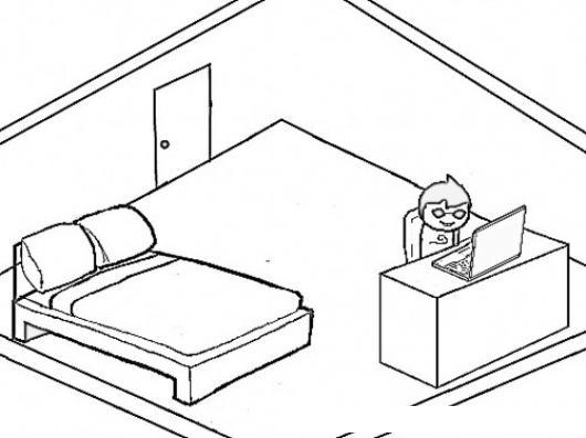 Cuarto de estudiante dibujo de un chico en su habitacion - Habitacion para colorear ...