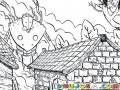 Dibujo De Robot Gigante En Una Aldea Para Pintar Y Colorear Caserio Con Casas De Adobe Y Un Robot Gigantesco