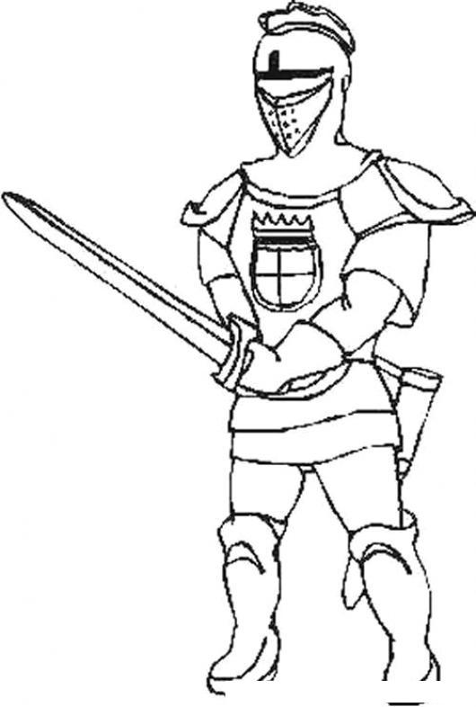 Dibujo De Caballero Medieval Con Espada Desenvainada Para Pintar Y ...