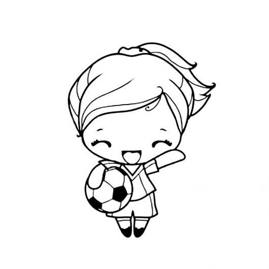 Nena Futbolista Dibujo De Nina Con Balon De Futbol Para Colorear