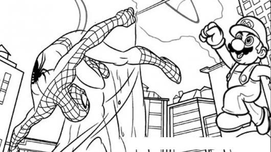 Spiderman Y Mariobros Dibujo Del Hombre Arano Con Super Mario Bros