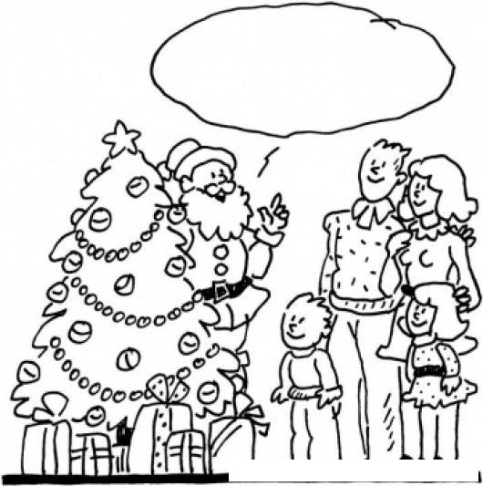 Santa Y Mi Familia Dibujo De Santaclos Hablando Con Una Familia En ...