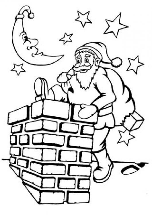 Dibujo De Santa Claus Metiendose En La Chimenea Para Pintar Y ...