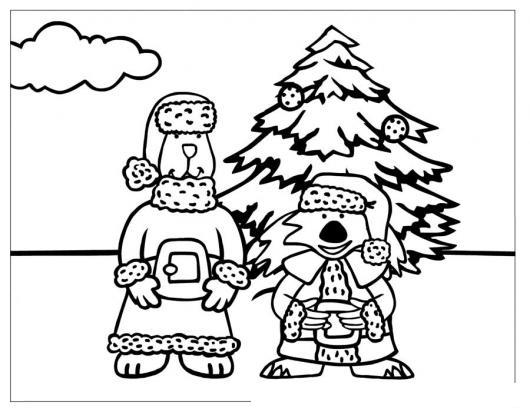 Dibujo De Perro Y Gato En Navidad Para Pintar Y Colorear | COLOREAR ...