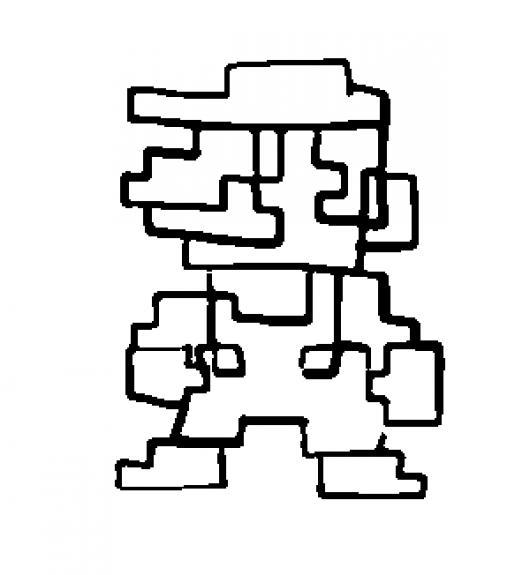 el primer mario bros dibujo de mario bros digital de 8 bits para pintar y colorear