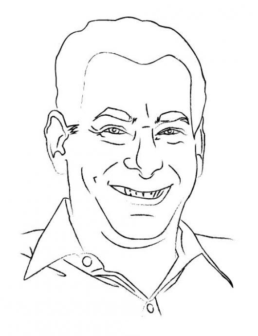 Dibujo De Abuelito Sonriendo Para Pintar Y Colorear