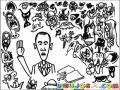 Ibujo De Obama Rodeado De Monstruos Para Pintar Y Colorear