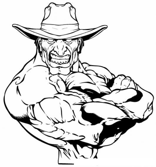 Feo Pero Musculoso Dibujo De Un Vaquero Con Muchos Musculos Para ...