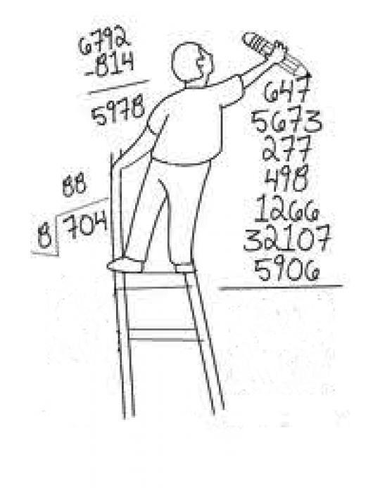 la gran suma dibujo de un maestro sumando numeros con escalera para pintar y colorear una sumota de numeros