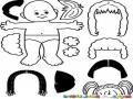 Pelucas Intercambiables Dibujo De Una Bebe Con Pelucas Para Recortar Pintar Colorear E Intercambiar