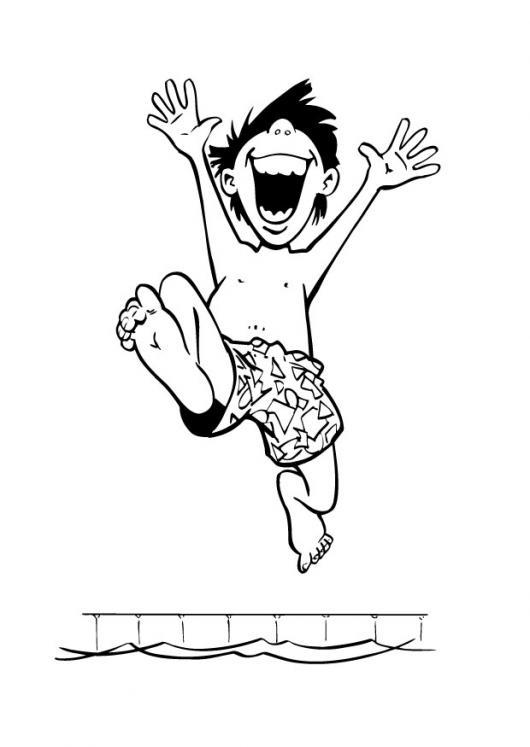 Piscinazo Dibujo De Un Nino Saltando Sobre Una Piscina Para Pintar Y