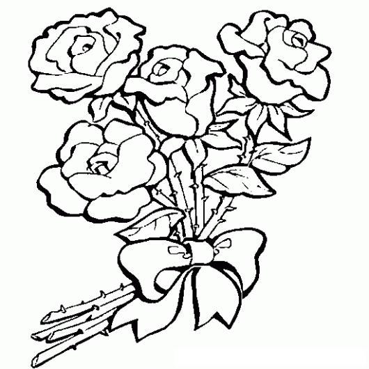 Dibujo De 4 Rosas Rojas Para Pintar Y Colorear  COLOREAR DIBUJOS