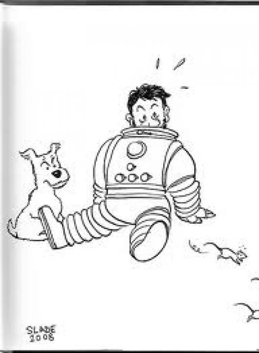 Astronauta Sin Casco Con Perro Y Ratas Para Colorear   COLOREAR ...