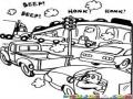Dibujo De Trafico Vehicular Para Colorear Carros Atascados