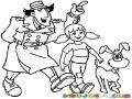 Dibujo Del Inspector Gadget Con Su Sobrina Y Su Perro Para Pintar Y Colorear Inspectorgadget