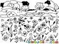 Paisaje De Flores Para Pintar Y Colorear