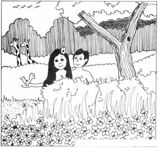 Dibujo De Adan Y Eva En El Jardin Del Eden Para Pintar Y