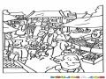 Dibujo Del Mercado Para Pintar Y Colorear Mercado De Pueblo