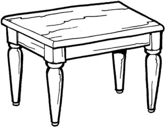 Dibujo de una mesa de madera para pintar y colorear - Pintar una mesa de madera ...