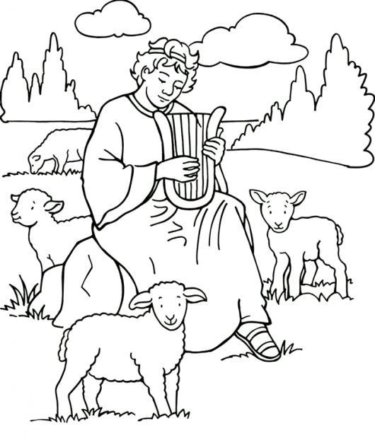 Dibujo Biblico Del Rey David Pastoreando Ovejas Y Tocando El Arpa