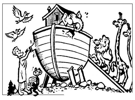 Arca De Noe Dibujo De Noe Impermeabilizando El Arca Para Pintar Y