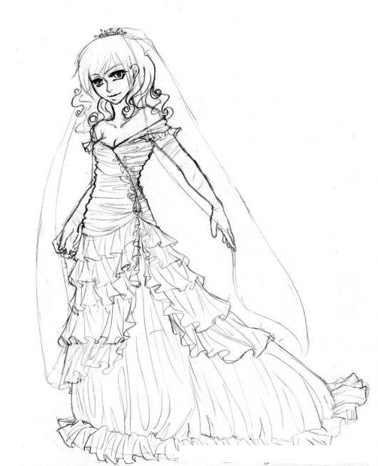 vestido de novia para pintar y colorear | colorear dibujos varios