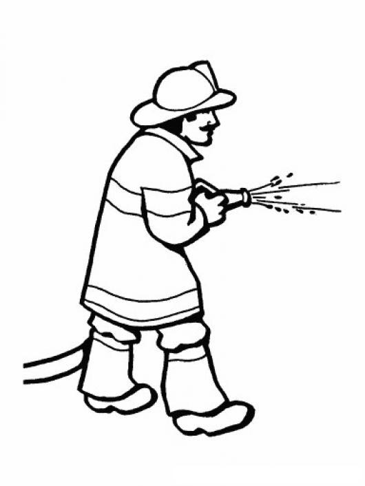Dibujo De Bombero Con Manguera Apagando Un Fuego Para Pintar Y
