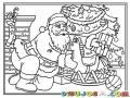 Dibujo De Santa Claus Dejando Un Caballito De Madera En El Arbol De Navidad Para Pintar Y Colorear