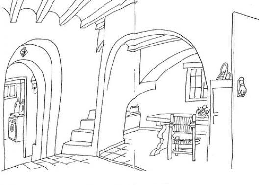 Dibujo del interior de una casa para pintar y colorear for Opciones para pintar mi casa interior