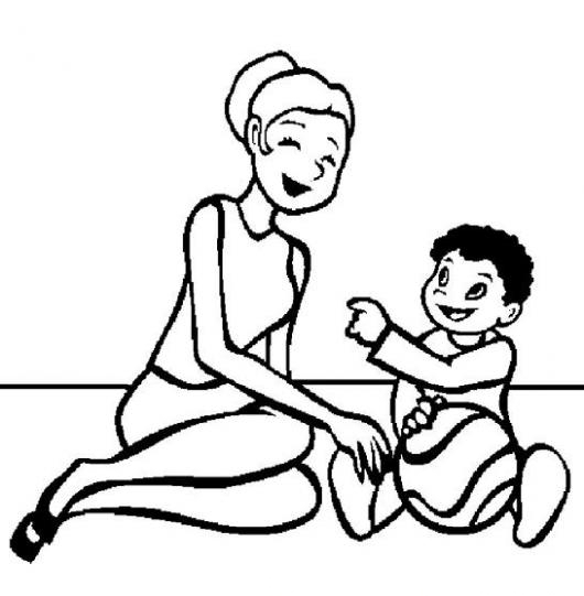 Dibujo De Mama E Hijo Jugando Pelota Para Pintar Y Colorear
