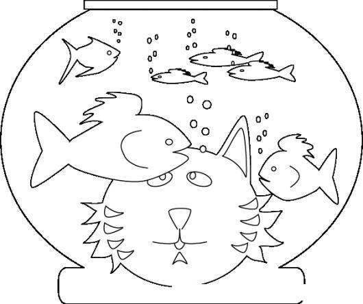 Dibujo De Gato Hambriento Viendo Peces En Una Pecera Para Pintar Y